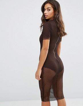 photo Allover Grid Mesh Bodycon Dress by NaaNaa Petite, color Chocolate - Image 2