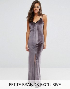 photo Velvet Strappy Double Layer Maxi Dress by NaaNaa Petite, color Charcoal - Image 1