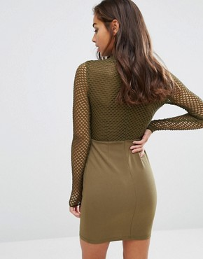 photo All Over Mesh Top Bodycon Dress by NaaNaa Petite, color Khaki - Image 2