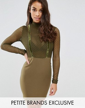 photo All Over Mesh Top Bodycon Dress by NaaNaa Petite, color Khaki - Image 1