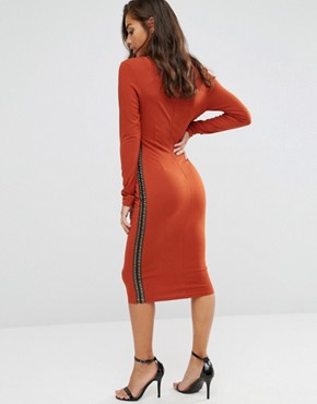 photo Plunge Front Midi Dress with Lattice Side Detail by NaaNaa Petite, color Ginger - Image 2