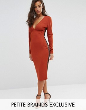 photo Plunge Front Midi Dress with Lattice Side Detail by NaaNaa Petite, color Ginger - Image 1