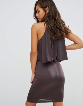photo High Neck Ruffle Front Mini Bodycon Dress by NaaNaa Petite, color Charcoal - Image 2