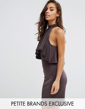 photo High Neck Ruffle Front Mini Bodycon Dress by NaaNaa Petite, color Charcoal - Image 1