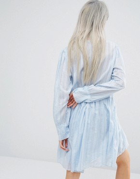 photo Long Sleeve Smock Dress with Woven Stripe and Ruffle Details by STYLENANDA, color Blue - Image 2