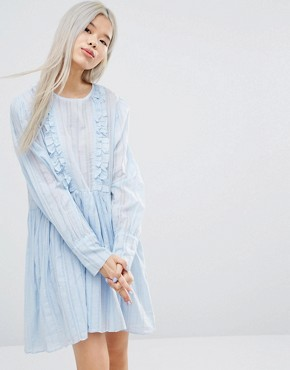 photo Long Sleeve Smock Dress with Woven Stripe and Ruffle Details by STYLENANDA, color Blue - Image 1