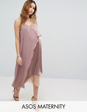 photo Cami Midi Dress with Mesh Insert by ASOS Maternity, color Nude - Image 1