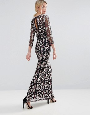 photo Allover Premium Embroidered Maxi Dress by Little Mistress Tall, color  - Image 2