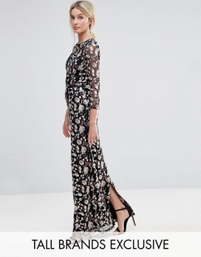 photo Allover Premium Embroidered Maxi Dress by Little Mistress Tall, color  - Image 1