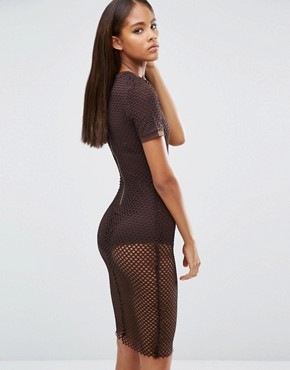 photo All Over Grid Mesh Bodycon Dress by NaaNaa Tall, color Chocolate - Image 2