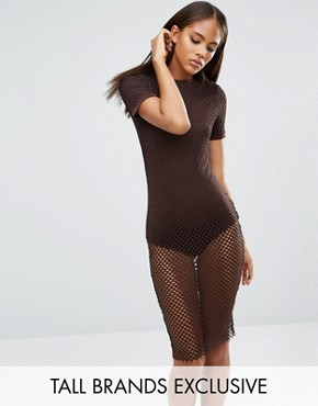 photo All Over Grid Mesh Bodycon Dress by NaaNaa Tall, color Chocolate - Image 1