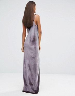 photo Velvet Strappy Double Layer Maxi Dress by NaaNaa Tall, color Charcoal - Image 2