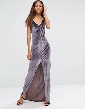 Velvet Strappy Double Layer Maxi Dress By Naanaa Tall Charcoal