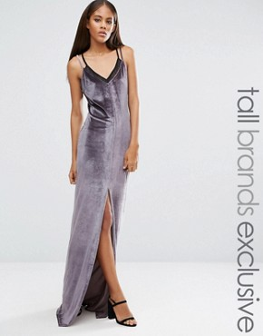 photo Velvet Strappy Double Layer Maxi Dress by NaaNaa Tall, color Charcoal - Image 1