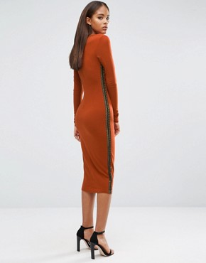 photo Plunge Front Midi Dress with Lattice Side Detail by NaaNaa Tall, color Ginger - Image 2