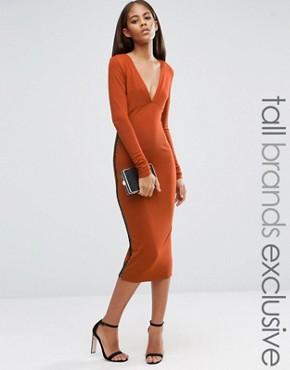 photo Plunge Front Midi Dress with Lattice Side Detail by NaaNaa Tall, color Ginger - Image 1