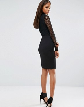 photo All Over Mesh Top Bodycon Dress by NaaNaa Tall, color Black - Image 2