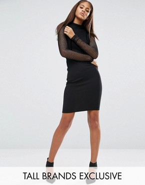 photo All Over Mesh Top Bodycon Dress by NaaNaa Tall, color Black - Image 1