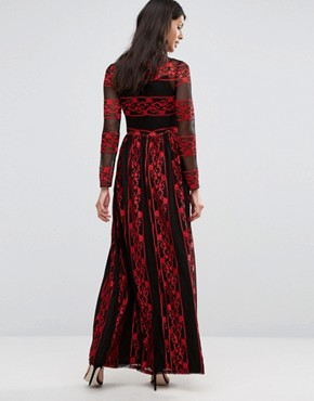 photo Embroidered Maxi Dress by Pixie & Diamond, color Black/Red Lace - Image 2