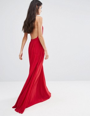 photo Maxi Dress with Open Back Wrap Front by Pixie & Diamond, color Red - Image 2
