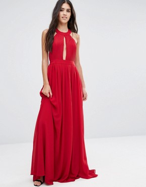 photo Maxi Dress with Open Back Wrap Front by Pixie & Diamond, color Red - Image 1