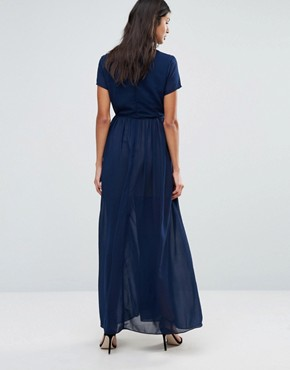 photo Maxi Dress with Tie Waist by Pixie & Diamond, color Navy - Image 2