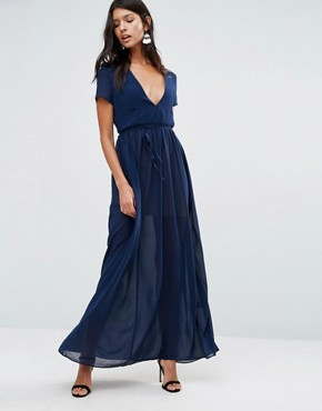 photo Maxi Dress with Tie Waist by Pixie & Diamond, color Navy - Image 1
