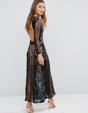 photo Lace Overlay Maxi Dress by Pixie & Diamond, color Black - Image 2