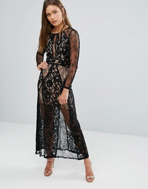 photo Lace Overlay Maxi Dress by Pixie & Diamond, color Black - Image 1