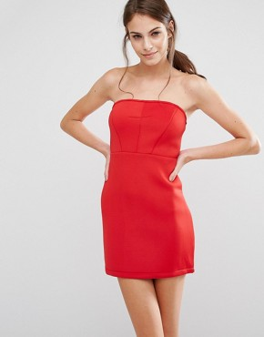 photo Bodycon Bandeau Dress by Pixie & Diamond, color Red - Image 1