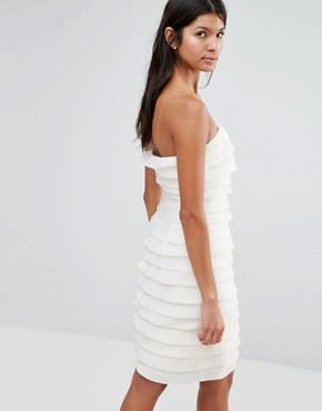 photo Textured Bandeau Mini Dress by Pixie & Diamond, color Cream Tiered Organza - Image 2