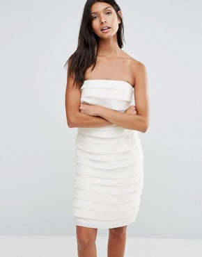 photo Textured Bandeau Mini Dress by Pixie & Diamond, color Cream Tiered Organza - Image 1