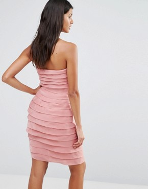 photo Textured Bandeau Mini Dress by Pixie & Diamond, color Pink Tiered Organza - Image 2
