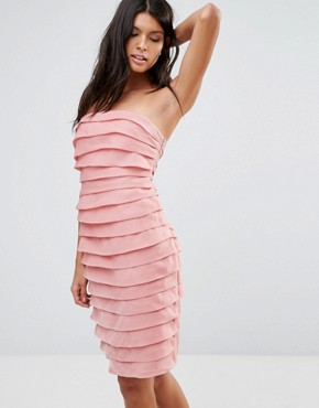 photo Textured Bandeau Mini Dress by Pixie & Diamond, color Pink Tiered Organza - Image 1