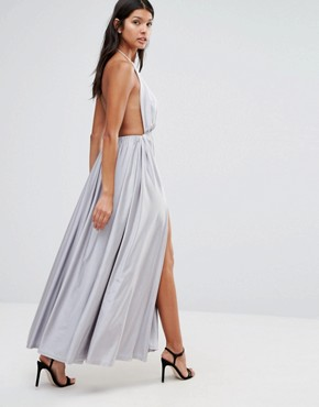 photo Plunge Front Maxi Dress by Pixie & Diamond, color Silver - Image 2