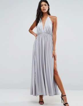 photo Plunge Front Maxi Dress by Pixie & Diamond, color Silver - Image 1