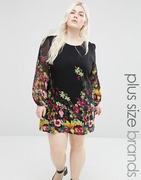 photo Shift Dress In Floral Border Print by Yumi Plus, color Black - Image 1