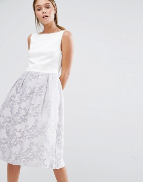photo Organza Skirt Midi Prom Dress by Oasis, color Grey - Image 1