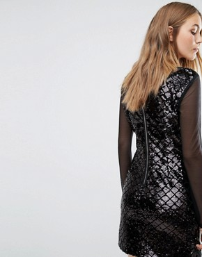 photo Sequin Shift Dress With Mesh Sleeves by Vila, color Black - Image 2