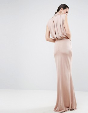 photo Slinky High Neck Metallic Belt Maxi Dress by ASOS TALL, color Pink - Image 2