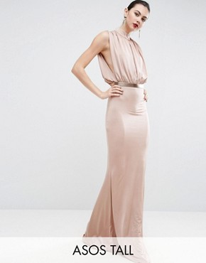 photo Slinky High Neck Metallic Belt Maxi Dress by ASOS TALL, color Pink - Image 1