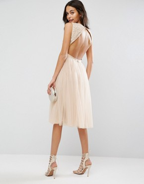 photo Prarie Embroidered Tulle Midi Dress by Needle & Thread, color Rose Beige - Image 2