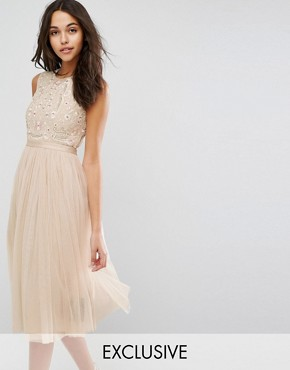 photo Prarie Embroidered Tulle Midi Dress by Needle & Thread, color Rose Beige - Image 1