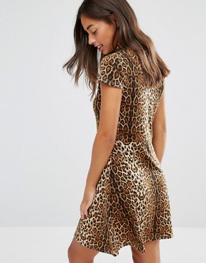 photo Allover Leopard High Neck Skater Dress by Glamorous Petite, color Brown - Image 2