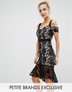 photo All Over Lace Dress with Cold Shoulder and Fishtail Detail by Paper Dolls Petite, color Black/Nude - Image 1