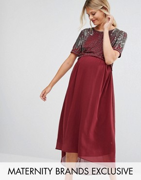 photo Embellished Bodice Hi Lo Prom Dress by Maya Maternity, color Burgundy - Image 1