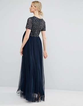 photo V Neck Maxi Tulle Dress with Tonal Delicate Sequins by Maya Maternity, color Navy - Image 2