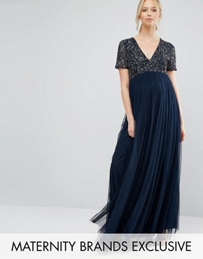 photo V Neck Maxi Tulle Dress with Tonal Delicate Sequins by Maya Maternity, color Navy - Image 1