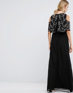 photo Embellished Overlay Maxi Dress with Frill Sleeve by Maya Maternity, color Black - Image 2
