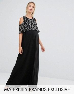 photo Embellished Overlay Maxi Dress with Frill Sleeve by Maya Maternity, color Black - Image 1